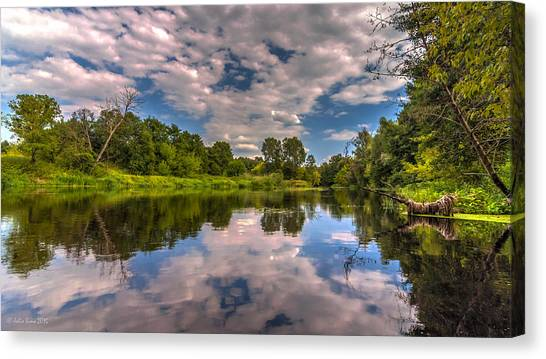 Slow River Reflections Canvas Print