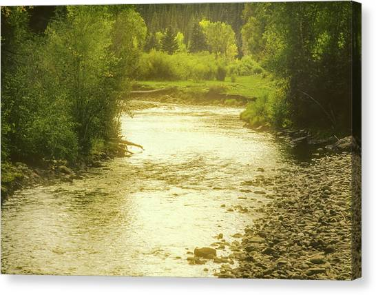 Canvas Print featuring the photograph Slow Stretch Of River by John Brink