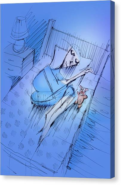 Canvas Print featuring the drawing Slumber by Keith A Link