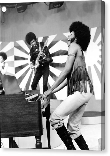 Sly And The Family Stone Performing Canvas Print by Everett