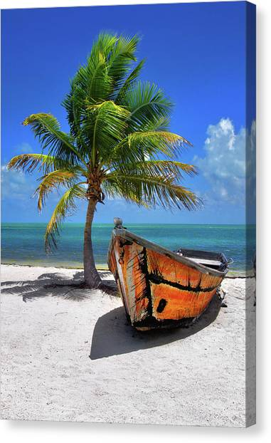 Small Boat And Palm Tree On White Sandy Beach In The Florida Keys Canvas Print