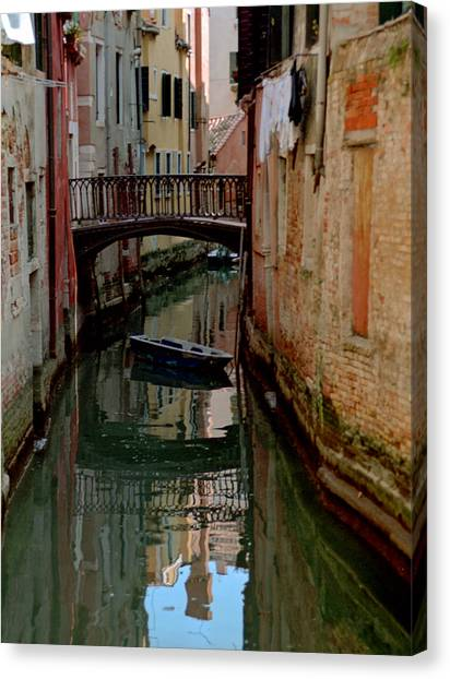 Small Boat On Canal In Venice For Vrooman Canvas Print by Michael Henderson