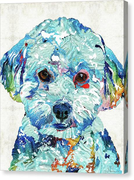 Shih Tzus Canvas Print - Small Dog Art - Soft Love - Sharon Cummings by Sharon Cummings