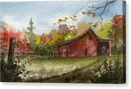 Small Fall Barn Canvas Print