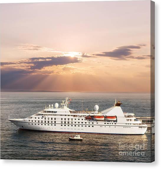 Cruise Ships Canvas Print - Small Luxury Cruise Ship by Elena Elisseeva