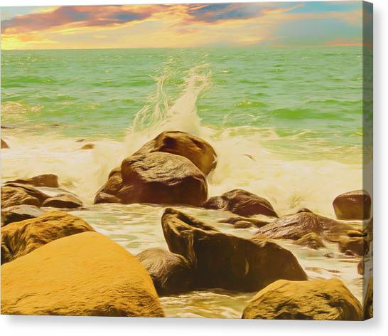 Small Ocean Waves,large Rocks. Canvas Print