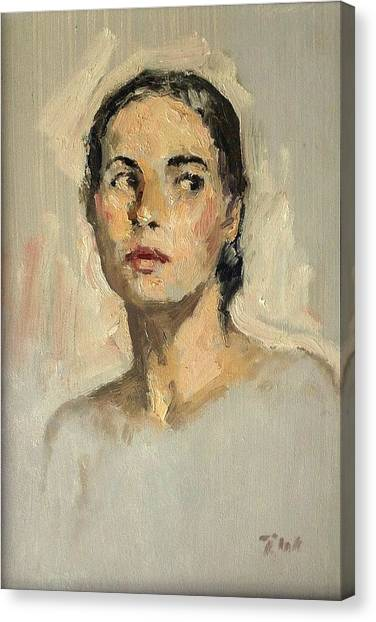 Small Oil Painting Portrait Study Young Woman Canvas Print