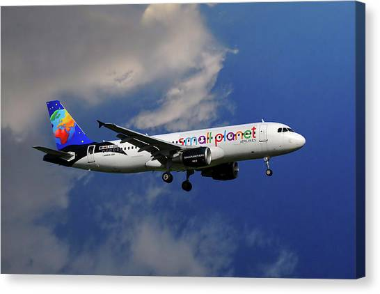 Smallmouth Bass Canvas Print - Small Planet Airbus A320-214 by Smart Aviation