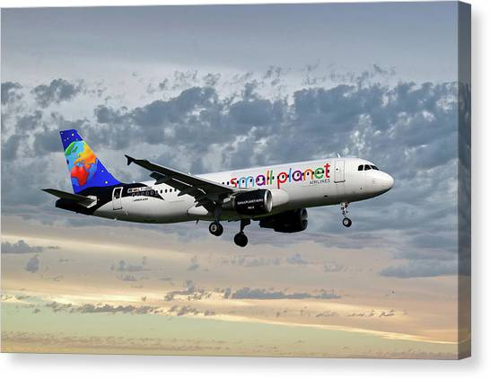 Airlines Canvas Print - Small Planet Airlines Airbus A320-214 by Smart Aviation