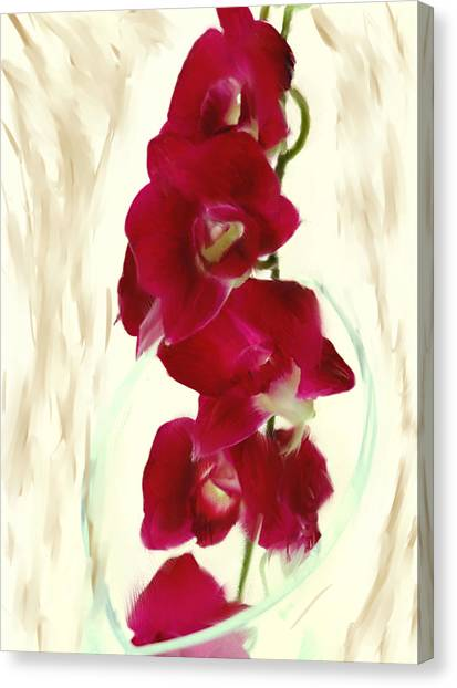 Small Red Lilies Canvas Print by Daniel D Miller