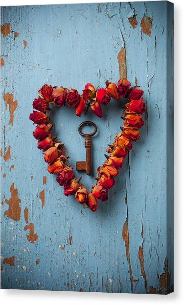 Red Roses Canvas Print - Small Rose Heart Wreath With Key by Garry Gay