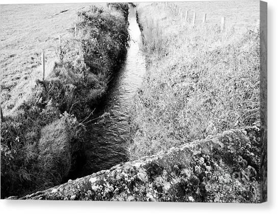 Brexit Canvas Print - small stream marking the irish border between Northern Ireland and Republic of Ireland by Joe Fox