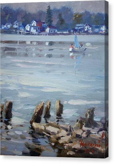 Fisherman Canvas Print - Small Town Across Niagara River by Ylli Haruni