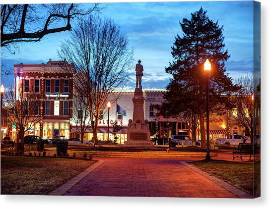 Small Town America Skyline - Downtown Bentonville Square  Canvas Print