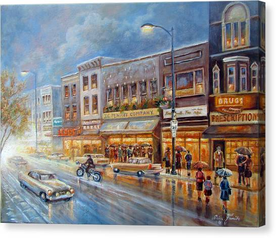 Small Town On A Rainy Day In 1960 Canvas Print by Regina Femrite