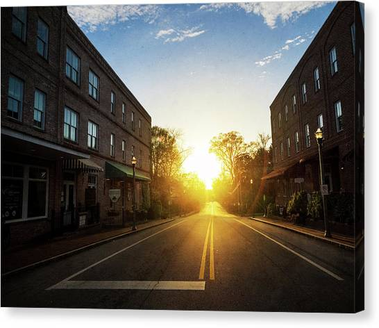 Small Town Street Sunset Canvas Print