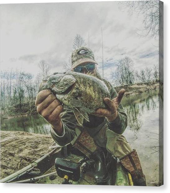 Bass Fishing Canvas Print - #smallmouth #kayakfishing #raymarine by Richard Sloan Finnerty