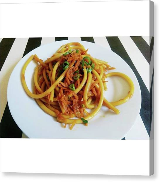 Spaghetti Canvas Print - Smażony Makaron Z Marchewka, Imbirem I by Anna Full Plate