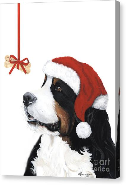 Bernese Mountain Dogs Canvas Print - Smile Its Christmas by Liane Weyers