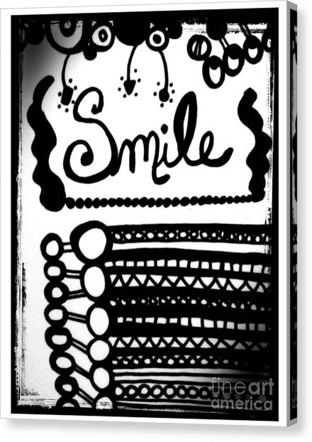 Canvas Print featuring the drawing Smile by Rachel Maynard