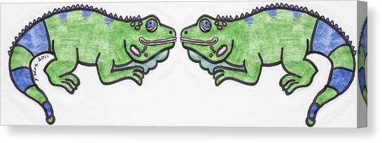 Smiley Iguanas Canvas Print