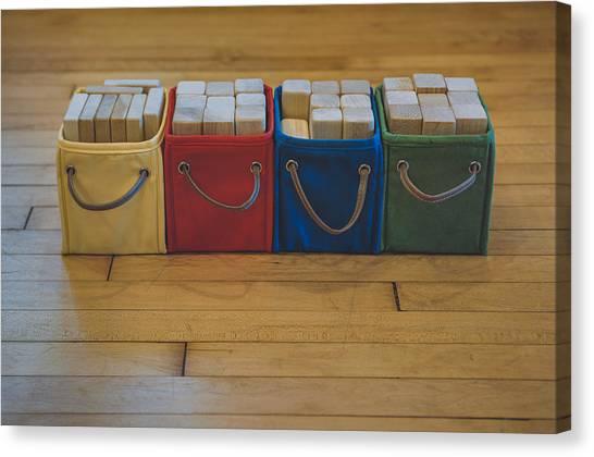 Primary Canvas Print - Smiling Block Bins by Scott Norris