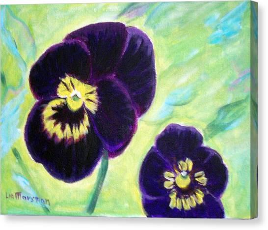 Smiling Pansy Canvas Print by Lia  Marsman