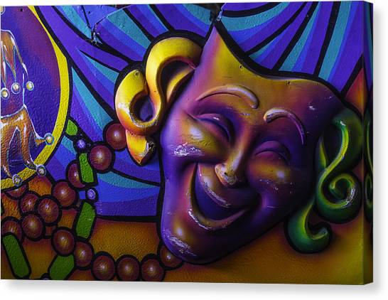 Mardi Gras Canvas Print - Smiling Theater Mask by Garry Gay