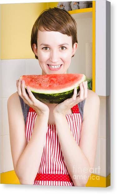 Watermelons Canvas Print - Smiling Young Woman Eating Fresh Fruit Watermelon by Jorgo Photography - Wall Art Gallery