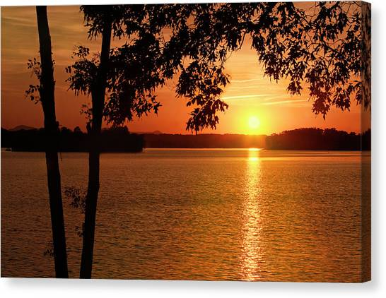 Smith Mountain Lake Silhouette Sunset Canvas Print