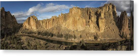 Canvas Print featuring the photograph Smith Rock And Crooked River Panorama by Belinda Greb