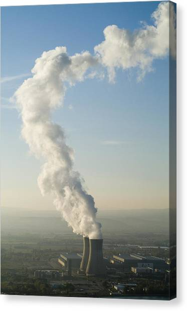 Smoke Emitting From Cooling Towers Of Tricastin Nuclear Power Plant Canvas Print by Sami Sarkis