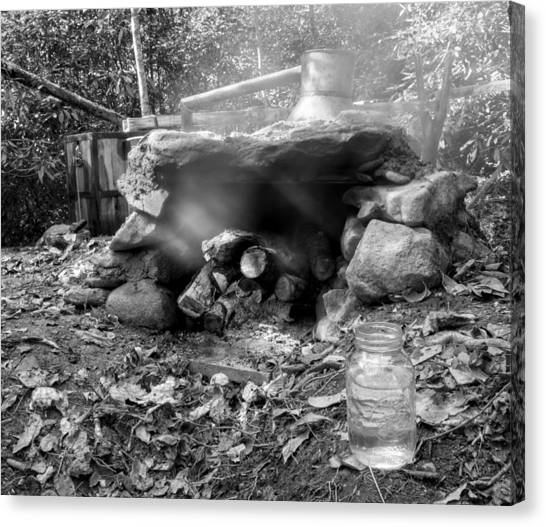 Smoke From Moonshine Still In Black And White Canvas Print