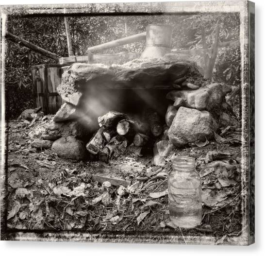 Smoke From Moonshine Still In Black And White With Border Canvas Print