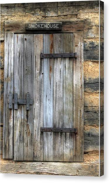 Smokehouses Canvas Print - Smokehouse Door Wood Antique Rust Bbq by Jane Linders