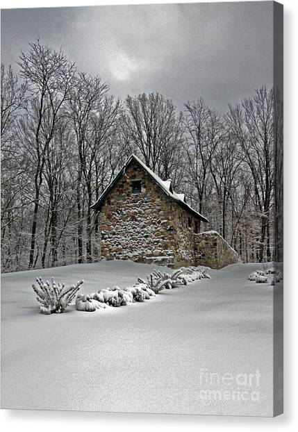 Smokehouses Canvas Print - Stone House In The Snow by Steve  Gass