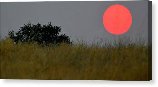 Canvas Print featuring the photograph Smokey Sunset by AJ Schibig