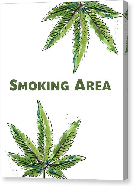 Marijuana Canvas Print - Smoking Area - Art By Linda Woods by Linda Woods