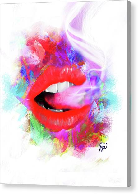 Smoking Lips Canvas Print