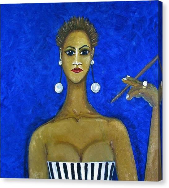 Canvas Print - Smoking Woman 2 by Joan Stratton