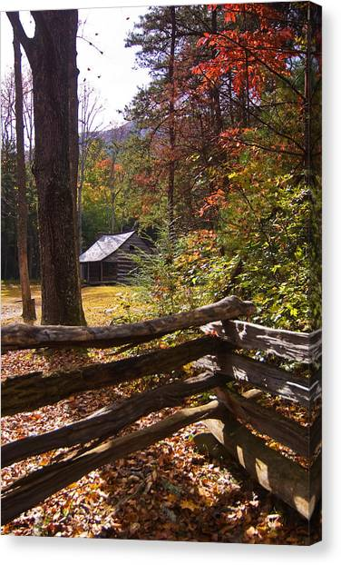 Smoky Mountain Log Cabin Canvas Print