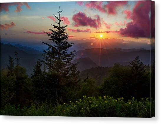 Blue Ridge Parkway Canvas Print - Smoky Mountain Sunset by Christopher Mobley