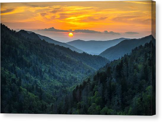 Smoky Mountains Sunset - Great Smoky Mountains Gatlinburg Tn Canvas Print