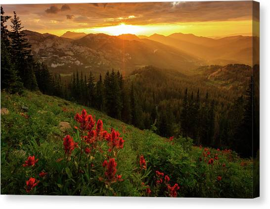 Smoky Wasatch Sunset Canvas Print