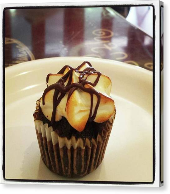 Canvas Print featuring the photograph smore Miniature Cupcake N Coffee by Mr Photojimsf