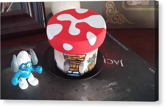 Canvas Print featuring the painting Smurf House by Jennifer Hotai