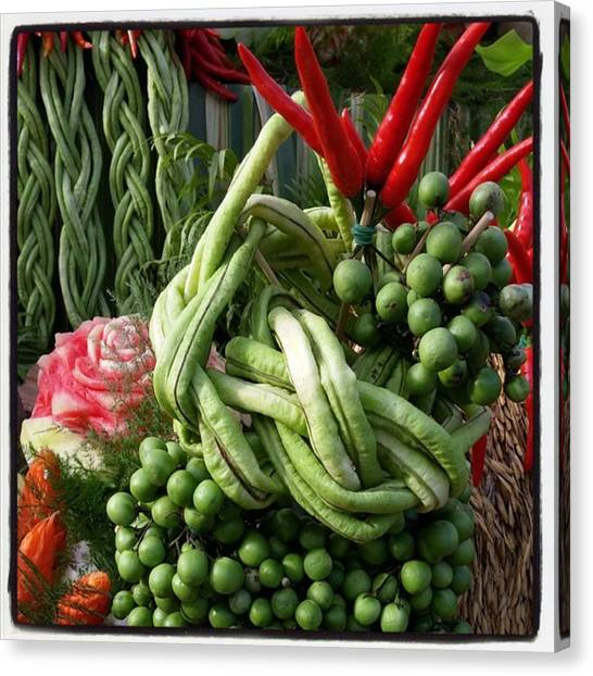 Canvas Print featuring the photograph Snake Beans. At The Surin Elephant by Mr Photojimsf