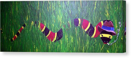 Coral Snakes Canvas Print - Snake In The Grass by Sharon Supplee
