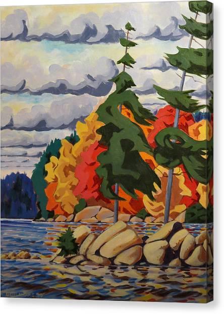 Snake Island In Fall-close Canvas Print