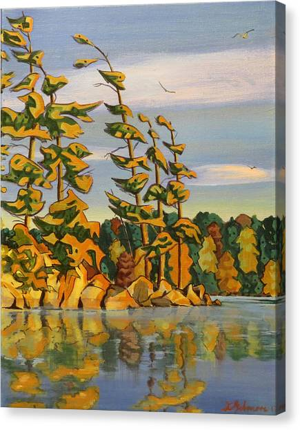 Snake Island In Fall Sunset Canvas Print